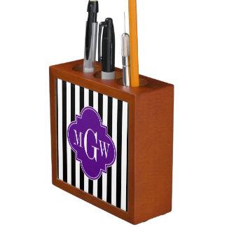 Black Wht Stripe Purple Quatrefoil 3 Monogram Desk Organiser