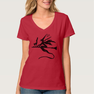 Black Wicked Witch And Cat Flying On Broomstick Shirts