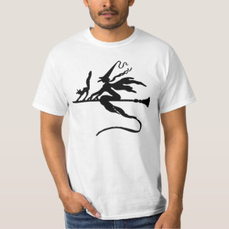 Black Wicked Witch and Cat flying on Broomstick T Shirt