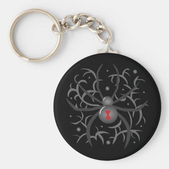 Black Widow Spider Basic Round Button Key Ring