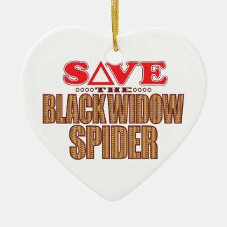 Black Widow Spider Save Ceramic Heart Decoration