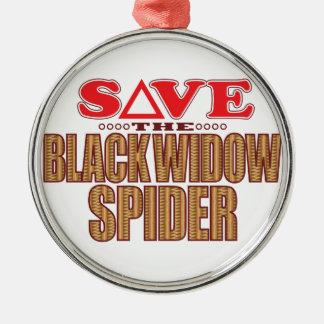 Black Widow Spider Save Silver-Colored Round Decoration