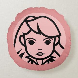 Black Widow Stylized Line Art Icon Round Cushion