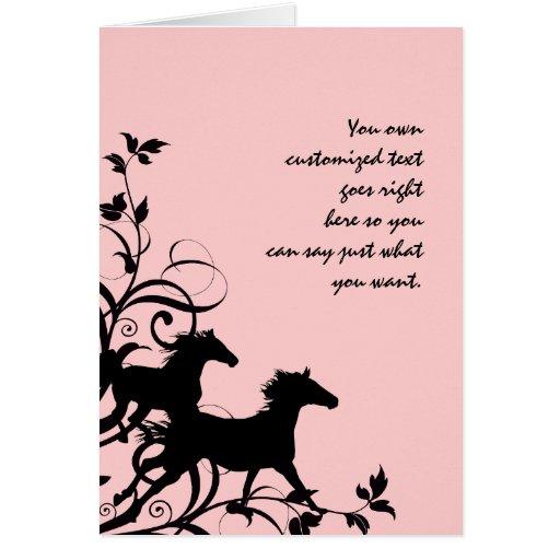 Black Wild Horses Greeting Cards