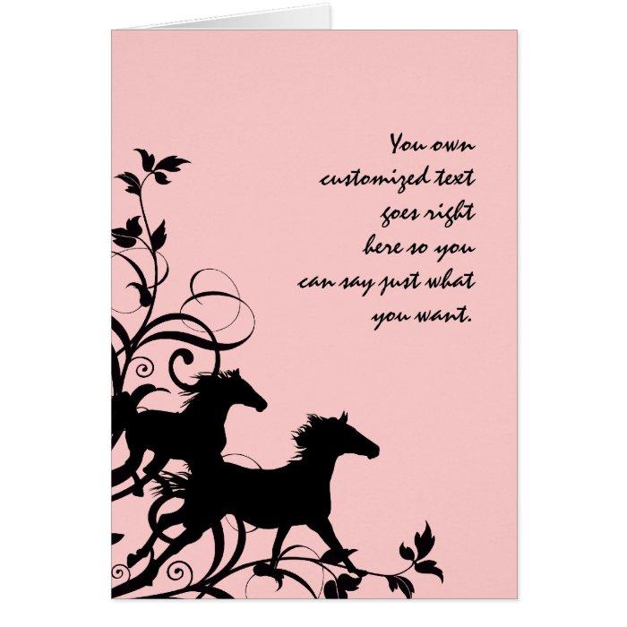 Black Wild Horses Greeting Card