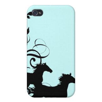 Black Wild Horses iPhone 4 Cases