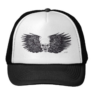 Black Winged Skull Art Hat