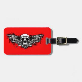Black winged skull luggage tag