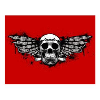 Black winged skull postcard