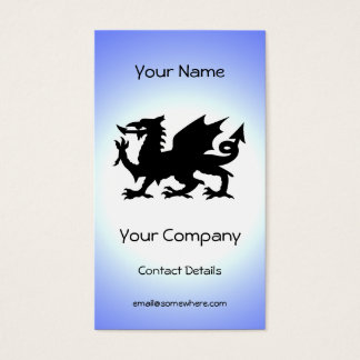Black Winged Wales Dragon Against Blue Sky Sun Business Card