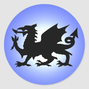 Black Winged Wales Dragon Against Blue Sky Sun Classic Round Sticker