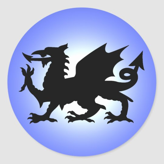 Black Winged Wales Dragon Against Blue Sky Sun