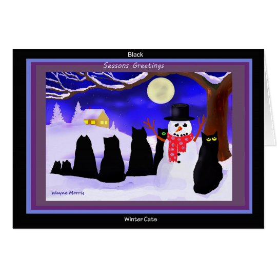 Black Winter cats Christmas cards
