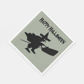 Black Witch Happy Halloween Disposable Serviettes