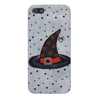 Black Witch Hat Stars Cute Spider Halloween iPhone 5/5S Cases