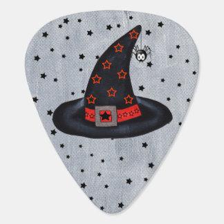 Black Witch Hat Stars Cute Spider Halloween Plectrum