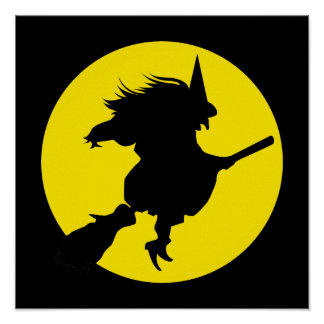 Black witch silhouette against golden full moon print