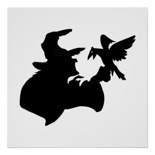 Black Witch With Bird Posters
