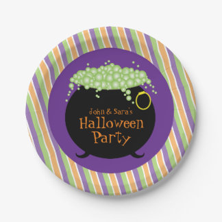 Black Witch's Pot, Personalized Halloween Party 7 Inch Paper Plate