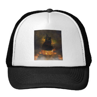 Black Witchy Cat Sits On Jack-A-Lantern Trucker Hats
