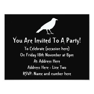 Black with a White Crow. 11 Cm X 14 Cm Invitation Card