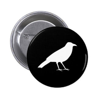 Black with a White Crow. 6 Cm Round Badge