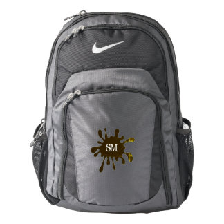 Black with Black Splatter & Your Initials - Backpack