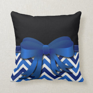 Black with Blue and White Chevron and Blue Bow Cushion