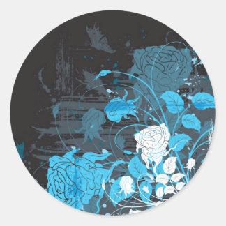 Black with Blue Flowers Round Sticker