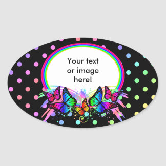Black With Bright Rainbow Colors Butterflies Dots Oval Sticker