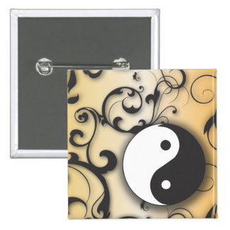 Black with Bronze Yin & Yang with scrolls 15 Cm Square Badge