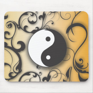 Black with Bronze Yin & Yang with scrolls Mouse Mat