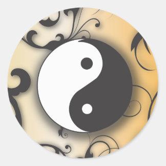 Black with Bronze Yin & Yang with scrolls Round Sticker