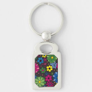 Black with Colorful Floral Keychain Silver-Colored Rectangle Key Ring
