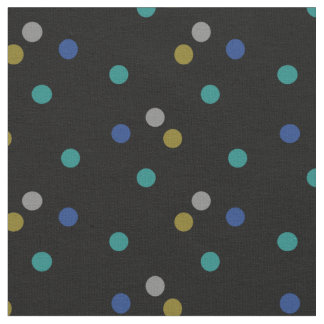 Black with Colourful Polka Dot Pattern Fabric