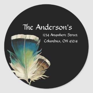 Black with Feathers Address Labels Round Sticker
