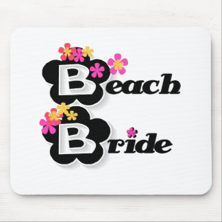 Black with Flowers Beach Bride Mouse Pad