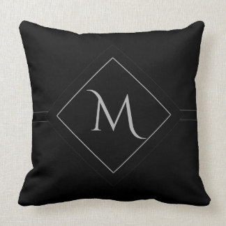 Black with Framed Initial Throw Pillow