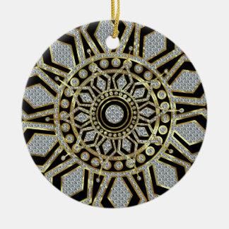Black With Gold & Diamonds Glitter Christmas Star Round Ceramic Decoration