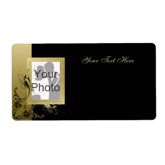 Black with Gold Effect Swirls & Photo Frame Shipping Label