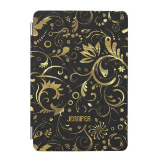 Black With Gold Floral Fabric Pattern iPad Mini Cover