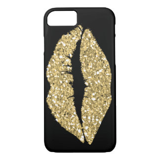Black with Gold Glam Lips iPhone 8/7 Case