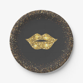Black with Gold Glitter and Gold Lips Paper Plate