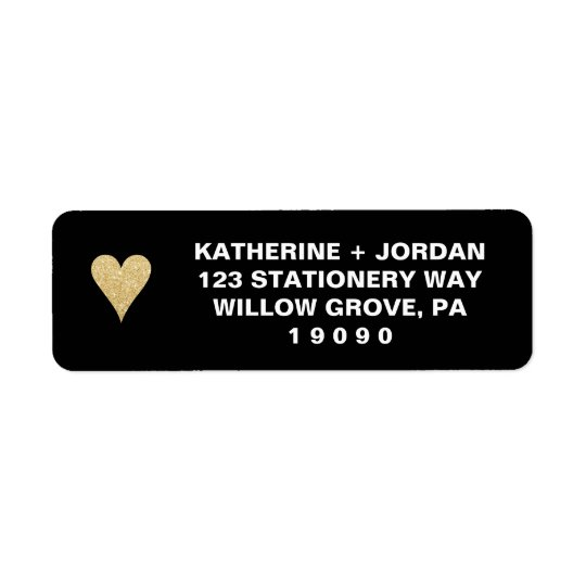 Black with Gold Heart Wedding Return Address Label