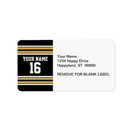 Black with Gold White Stripes Team Jersey Address Label