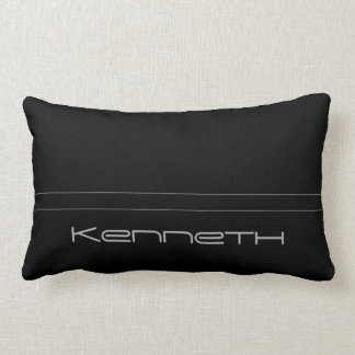 Black With Gray Stripe Lumbar Pillow
