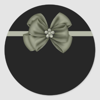 Black with Green Bow Stickers