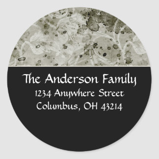 Black with Green Grungy Topper Address Labels Round Sticker
