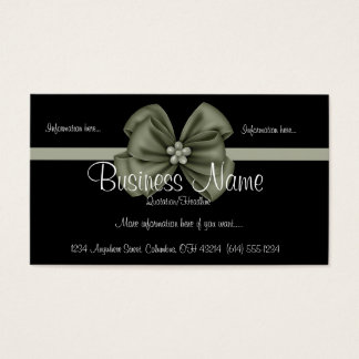 Black with Green Ribbon/Bow Business Card