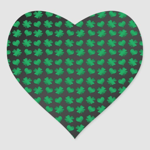 Black with green shamrocks and hearts heart sticker